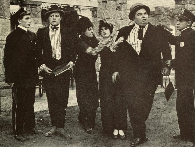 Milla Davenport, Mabel Normand, Harry McCoy & Roscoe Arbuckle in a Keystone comedy