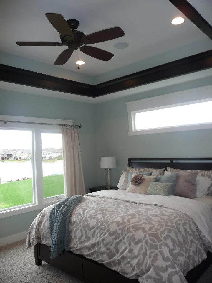 bedroom windows crown molding above small window