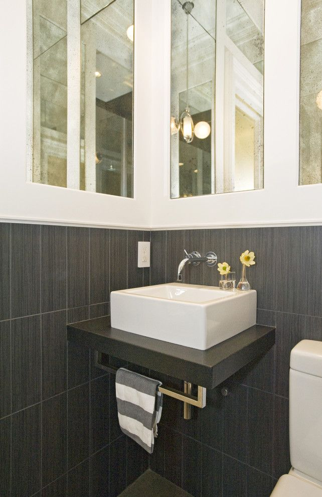 Gray Tile For Floor And Backsplash Bathrooms Pinterest