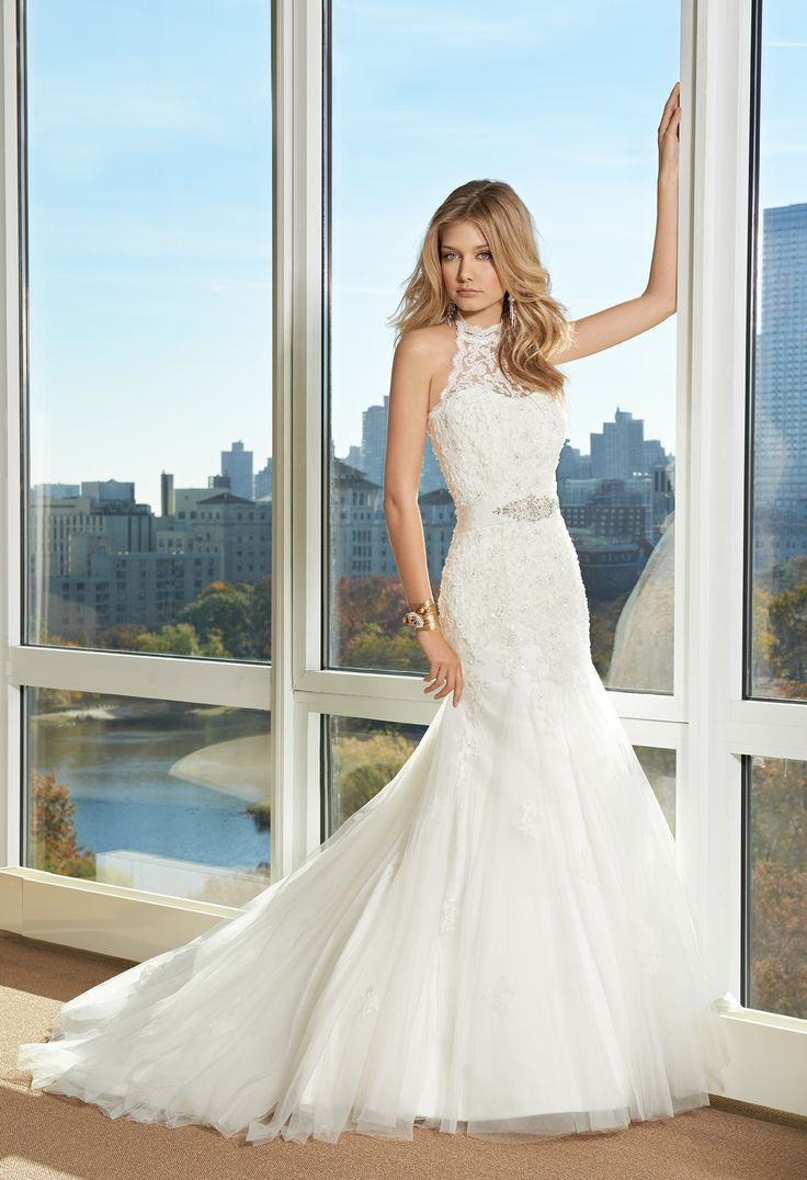 All Lace Wedding Dress with Tulle Godets by Camille La Vie