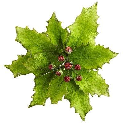 Poinsettia clip ornament green