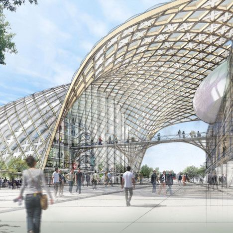 Wood architecture for swatch and omega by shigeru ban