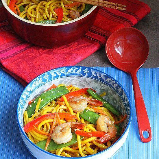 Shrimp Stir-Fry Lo Mein Noodles (Happy Shrimp Longevity Noodles)