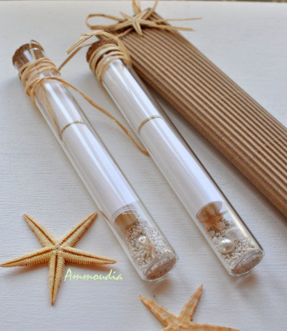 message in a bottle invitation in a glass tube destination beach wedd