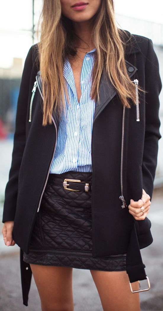 #Pinstripes And #Quilted #Leather     by Song Of style