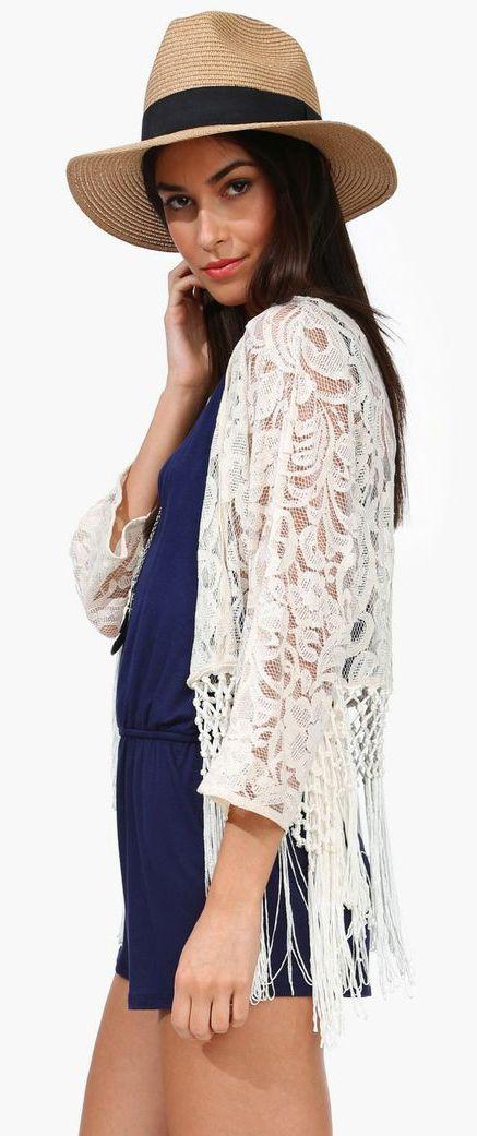 Ivory Crochet Kimono Style Pinterest