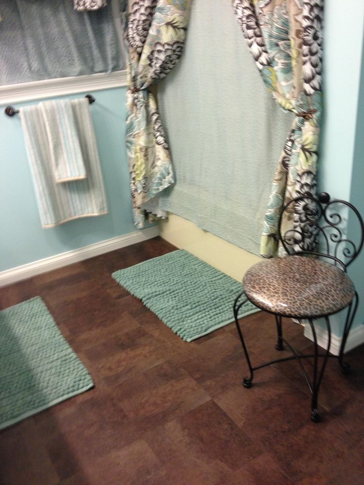 Blue and brown bathroom makeover