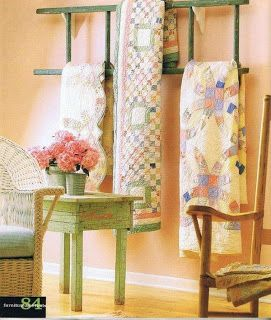 Beehive Quilts: Great quilt display idea