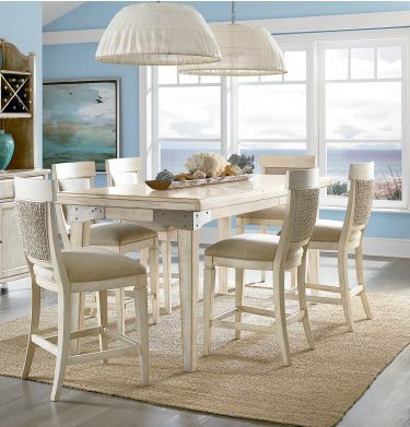 Counter Height Leg Table Dining Room Set Set Weathered White