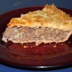 Meat Pie (Tourtiere) Allrecipes.com ok recipe needs a bit of tweaking ...