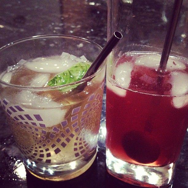 Left: 1part homemade cucumber vodka, 1part RHUBARB (RHUBY), muddled ...