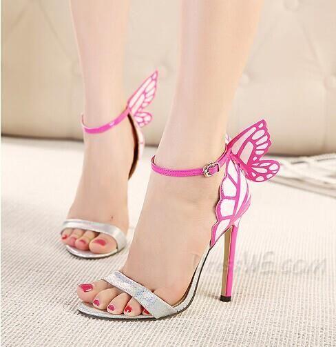 2014 Beautiful Open Toe Stiletto Heel Butterfly Ankle Strap Sandals ...