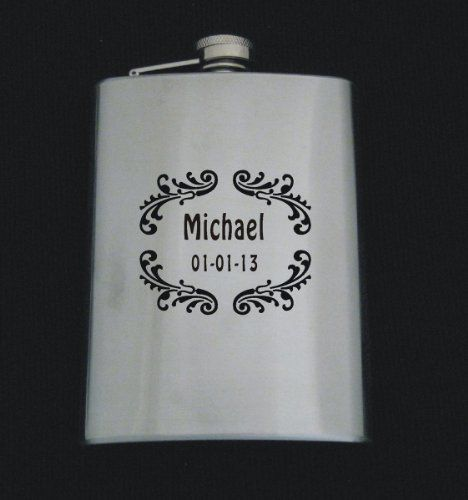 Unique Wedding Gift Experiences : Logo 655 W/ Text Stainless Steel 8 oz Flask Wedding Groomsman Gift ...