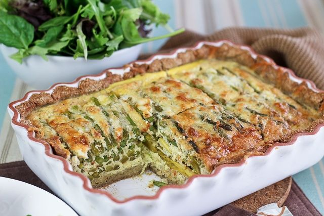 Asparagus and Cheese Quiche (grain free, uses up leftover almond pulp)
