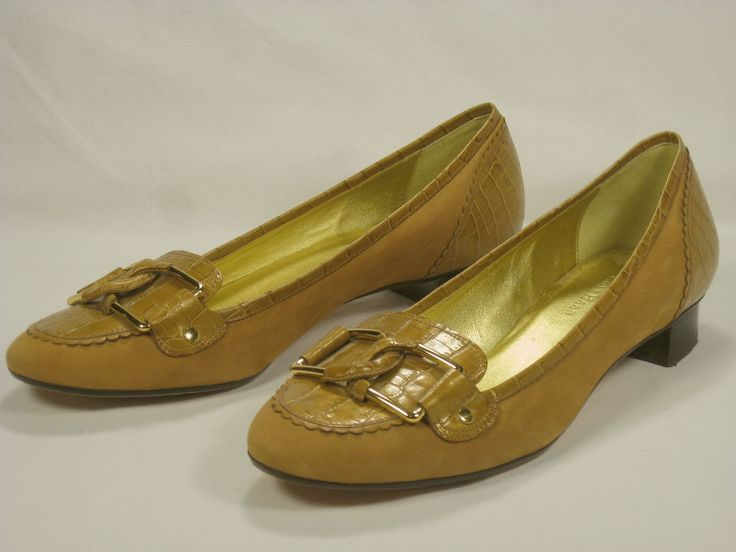 Cole Haan Womens Shoes 8.5 Tan Leather Loafers Gold Accents #ColeHaan