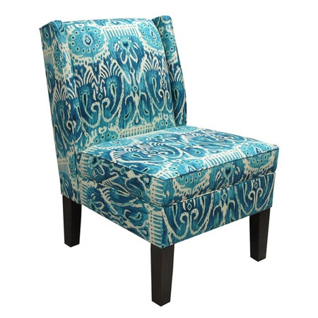Ikat Armless Wingback Chair in Teal Home
