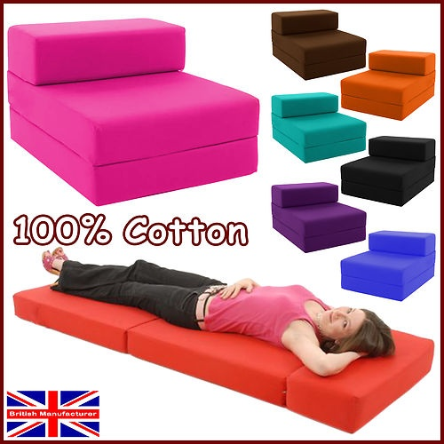 Block Filled Fold out Chair Bed Z Guest Futon Cotton