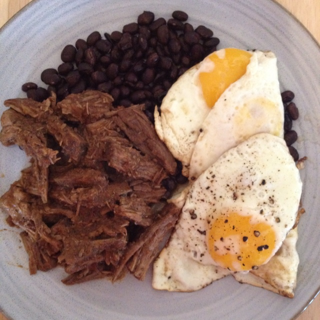 Barbacoa Beef with black beans and fried eggs... Marcel would ...