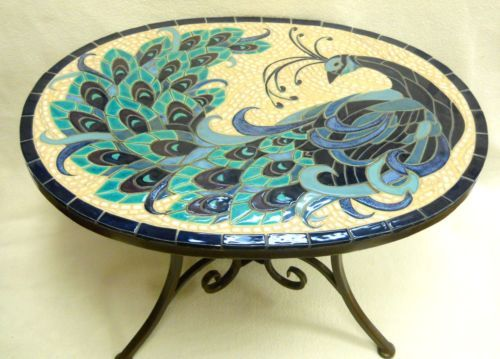 Peacock mosaic handmade ceramic tile accent coffee table for Peacock coffee table