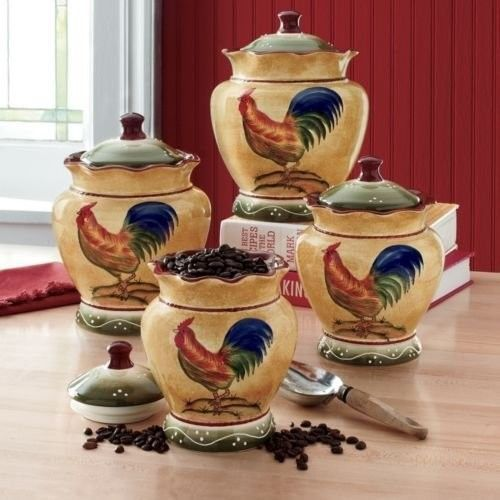 rooster hand painted kitchen storage canisters set of 4