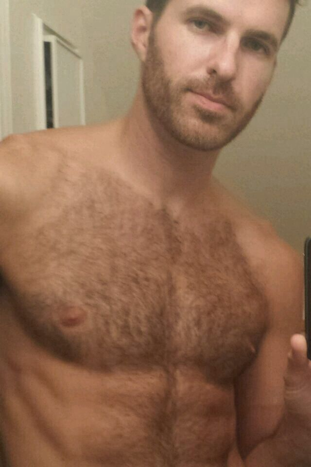Hairy chested handsome guy