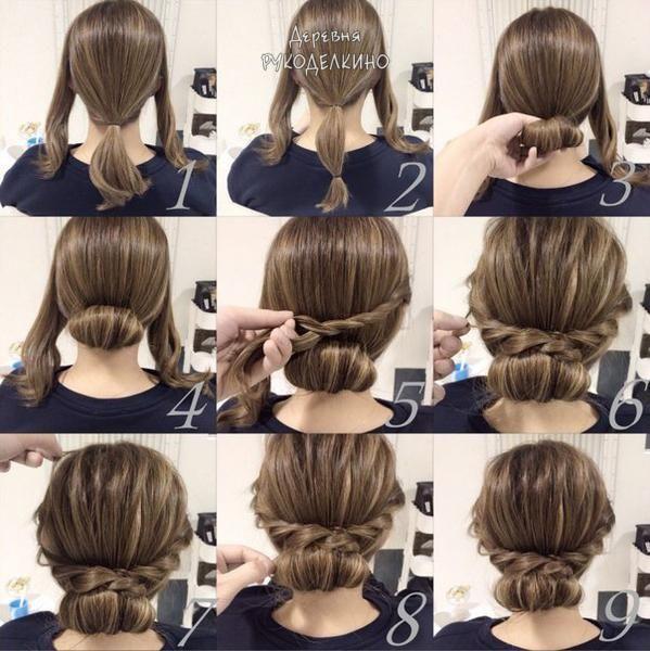 Прическа на каждый день своими руками на средние волосы пошагово 88