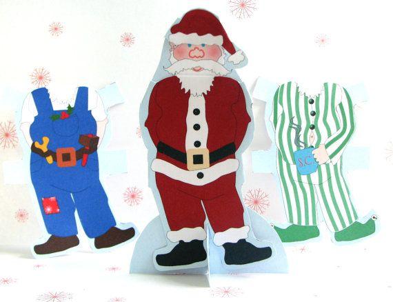 Printable santa paper doll instant download christmas decoration