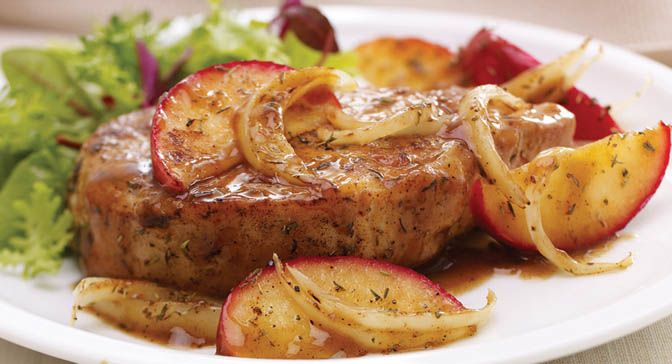 Apple-sage pork chops | For Happy Tummies | Pinterest