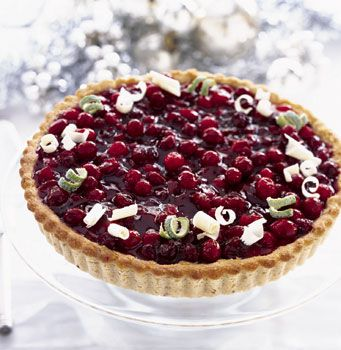 Cranberry-Lime Tart ~ Lime curd and tart cranberries are balanced by a ...