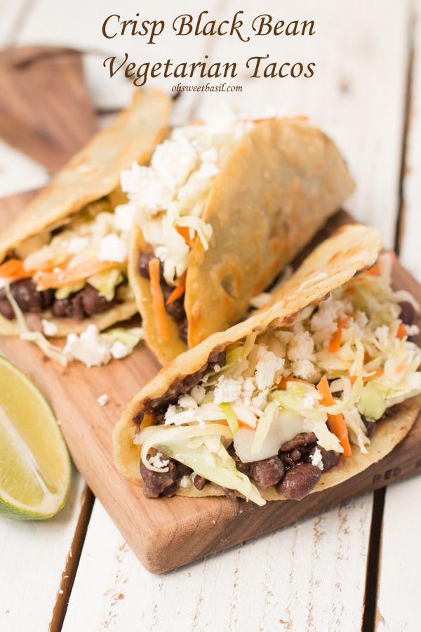 Crisp Black Bean Tacos with Feta and Cabbage Slaw | Recipe