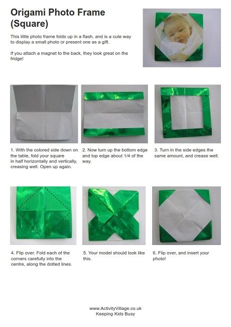 origami photo frame instructions craft ideas pinterest
