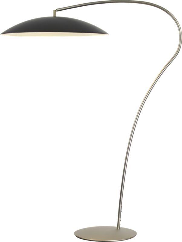 atomic matte black arc floor lamp cb2. Black Bedroom Furniture Sets. Home Design Ideas