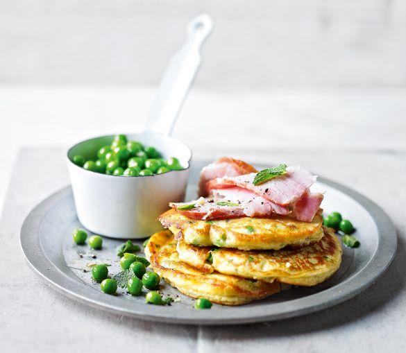Minted pea and ham ricotta pancakes | I like food | Pinterest
