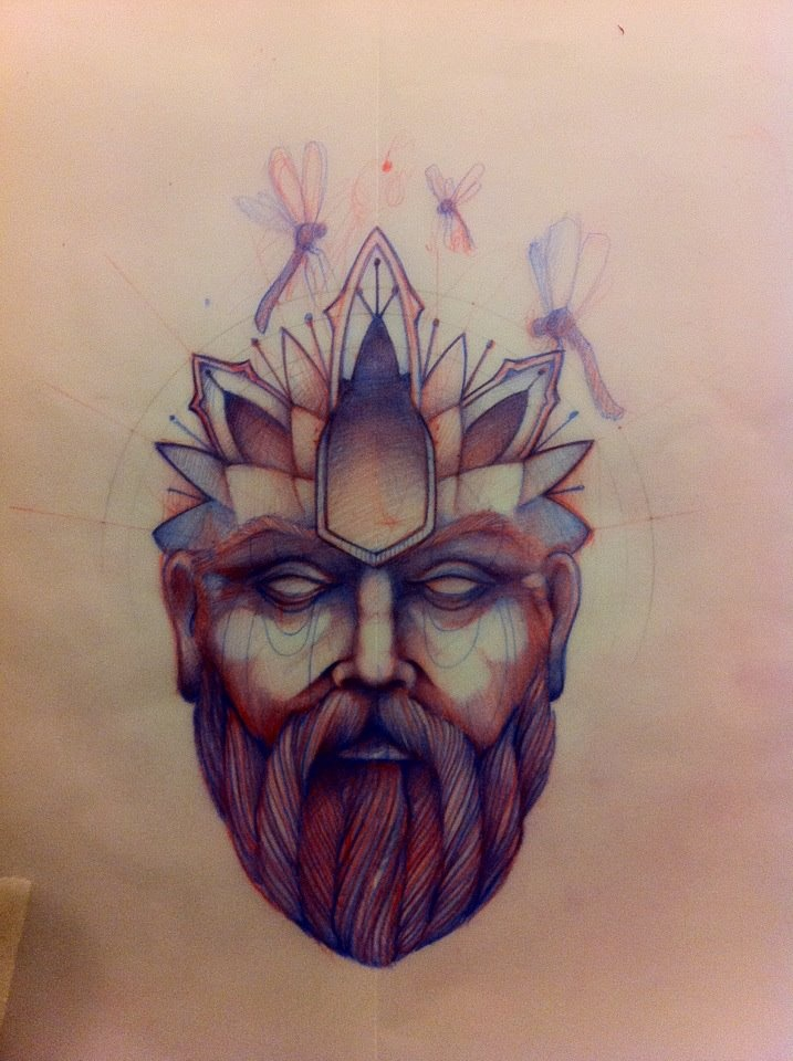 Head man tattoo sketch creative ideas ink inspirations for Tattoo sketches for men