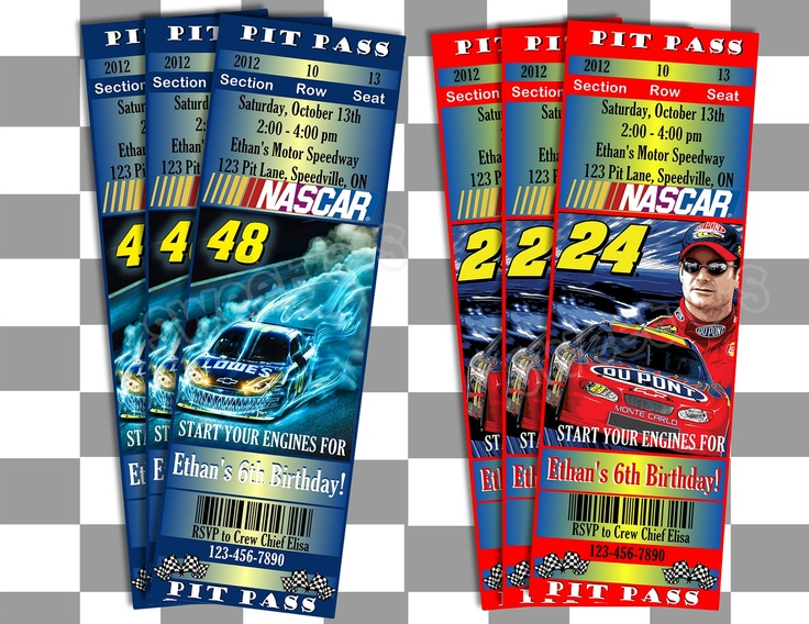PRINTABLE NASCAR INVITATIONS - Ticket Style Customized with your party ...