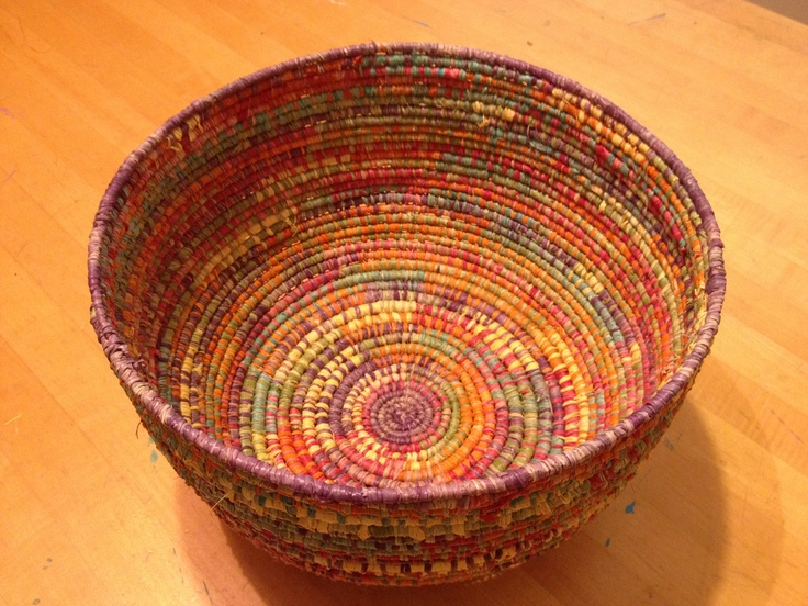 Basket Weaving With Raffia : Judy hand coiled raffia basket baskets