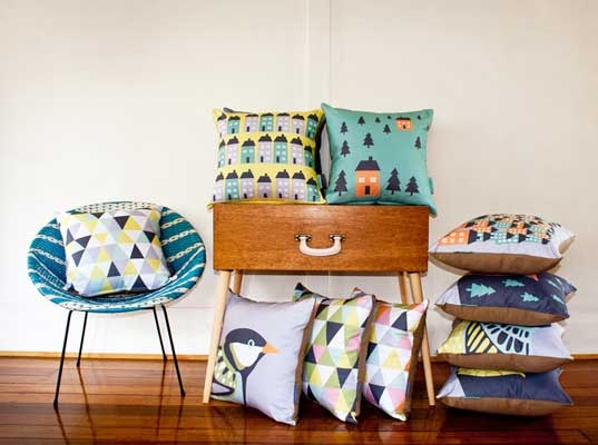 Another Vision Design's bright coloured vintage inspired soft furnishings