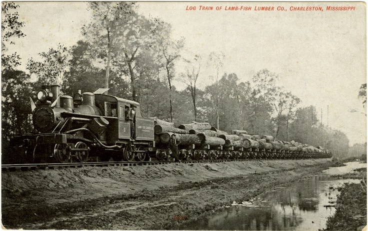 "Cooper Postcard Collection  ""Log Train of Lamb-Fish Lumber Co., Charleston, Mississippi.""  Charleston, Mississippi, Tallahatchie County"