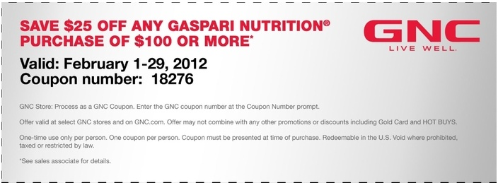 Gnc coupon code january 2018