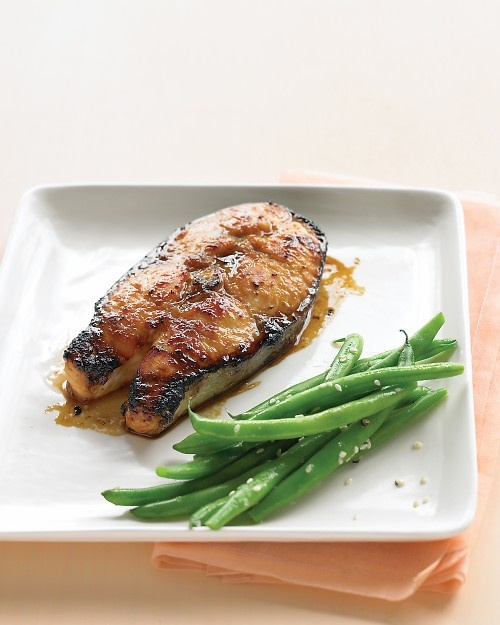 Soy-Glazed Salmon Steaks: This skin-on, bone-in cut of salmon emerges ...