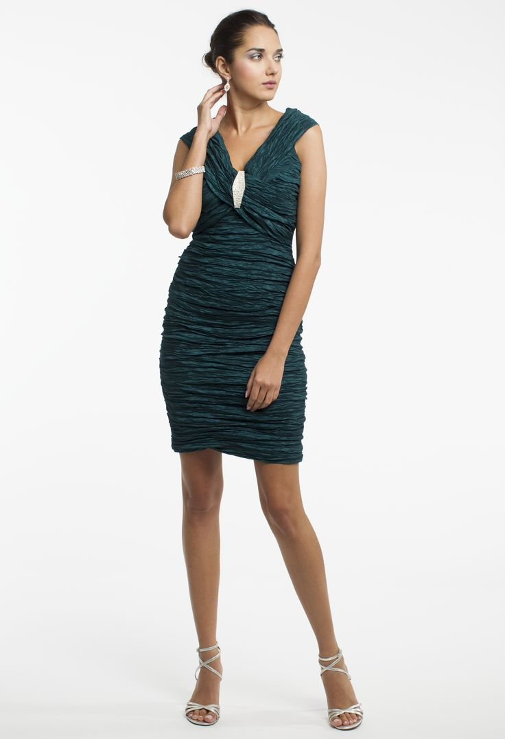 Off the Shoulder Crinkle Taffeta Short Dress by Camille La Vie & Group USA