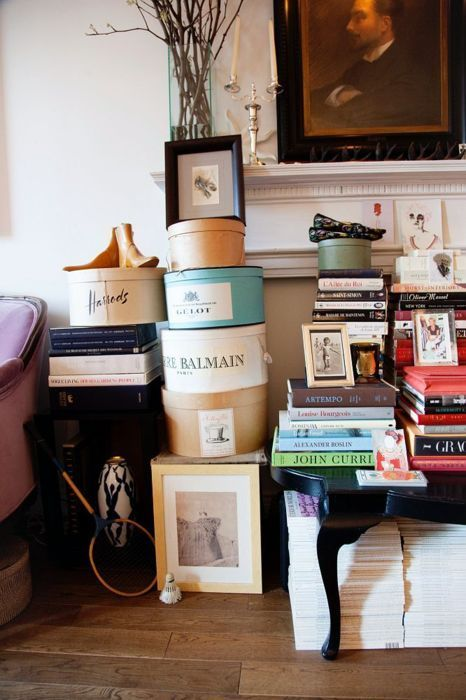 Hat boxes and fashion books