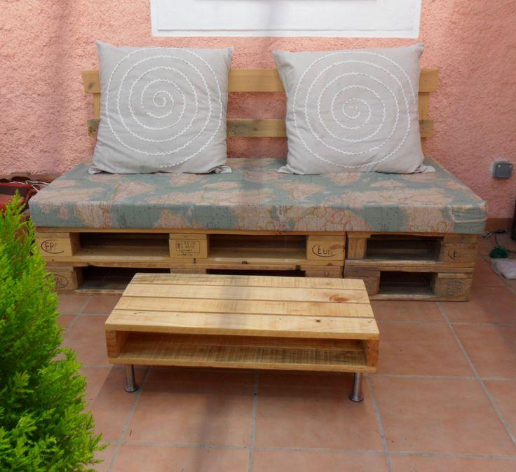 Sill n y mesa hechos con palets muebles de atumadera - Muebles de jardin hechos con palets ...
