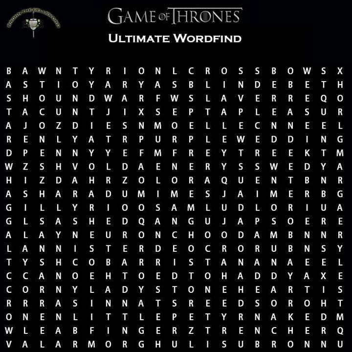 Word find   Game of thrones   Pinterest