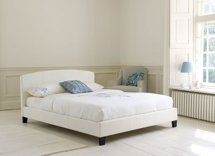 White Faux Leather Bed frame | Home Decor | Pinterest 736 x 535