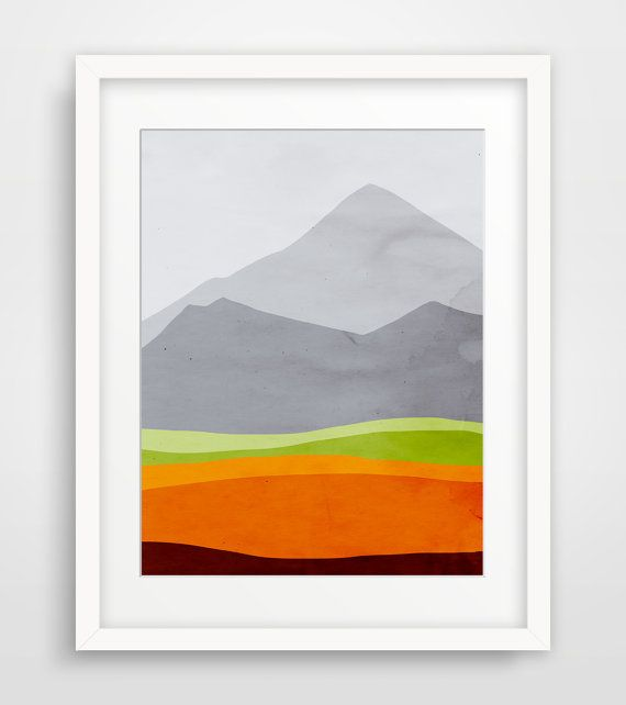 Mountains Modern Art Print Mid Century Modern Abstract