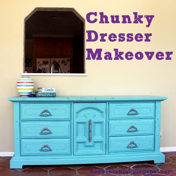 Boxy Colonial: Sunroom Progress: Chunky Dresser Makeover
