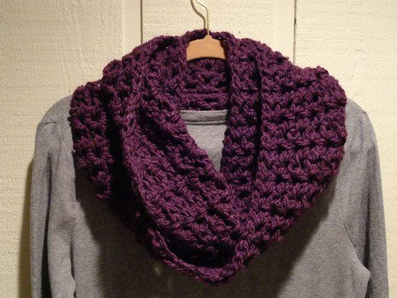 Crochet Infinity Scarf Cowl Purple V Stitch by kathyscrochetcloset   Crochet Infinity Scarf Pattern V Stitch
