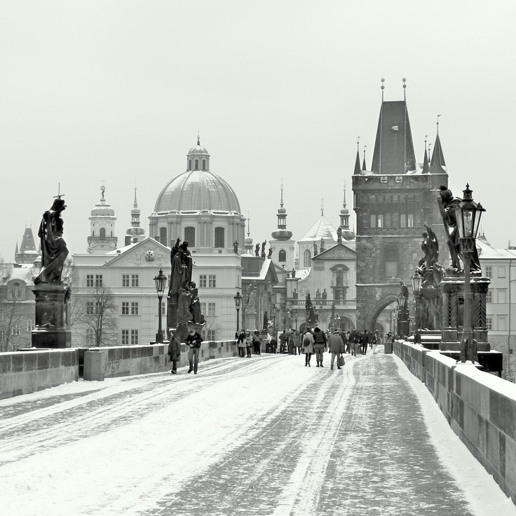 Charles Bridge on a snowy morning in Prague, Czech Republic (March 2013) - Photo by BradJill