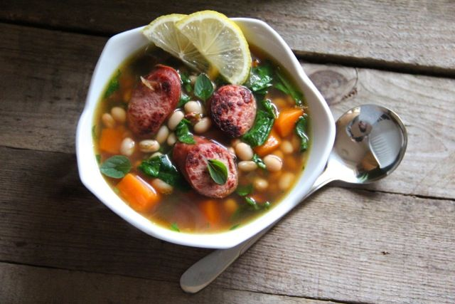 White Bean Soup with Spinach, Sweet Potatoes & Turkey Sausage - Olive ...